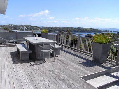 Deck and view holiday house Waiheke Island