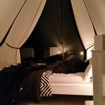 Waiheke Tent House: Bedroom at night